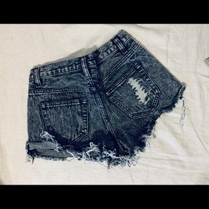 Forever21 Grey distressed denim shorts.